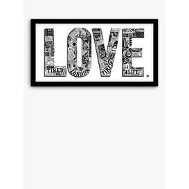 image-LucyLovesThis - Love London Framed Print & Mount, 33.5 x 63.5cm, Black/White