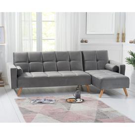 image-Mark Harris Abigail Grey Velvet Right Hand Facing Corner Chaise Sofa Bed