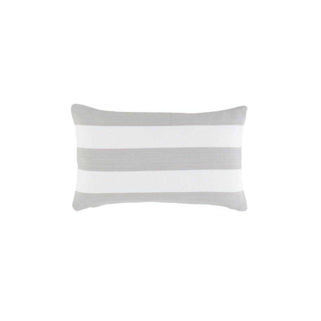 image-Catamaran Stripe Pearl Grey/White Indoor/Outdoor Lumbar Cushion