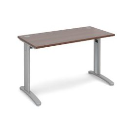 image-Trinity Narrow Rectangular Desk, 120wx60dx73h (cm), Silver/Walnut, Free Delivered & Fully Installed Delivery