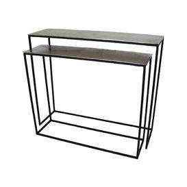 image-Smithville 2 Piece Console Table Set Bloomsbury Market Colour (Table Top): Silver, Size: 83 H x 99 W x 29 D cm