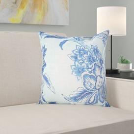 image-Doane 55% Linen and 45% rayon Cushion Cover Fleur De Lis Living Colour: Blue, Size: 50 x 50cm