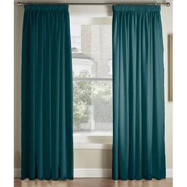 image-Krum Luxury Pencil Pleat Room Darkening Curtains Canora Grey Colour: Blue, Panel Size: 168 W x 137 D cm
