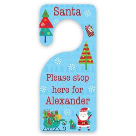 image-Personalised Blue Santa Christmas Door Hanger