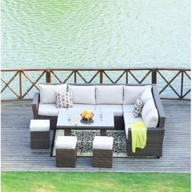 image-Vanderford 9 Seater Rattan Corner Sofa Set Dakota Fields