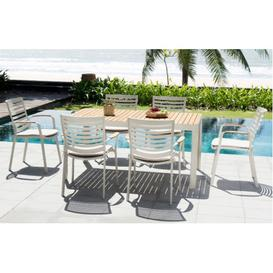 image-Portals Aluminium and Teak Outdoor 6 Seat Dining Set by Lifestyle Garden