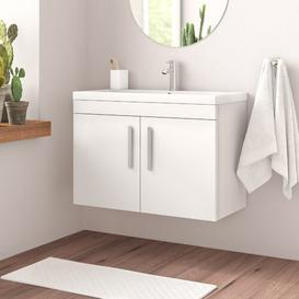image-Stollings 800mm Wall Mount Vanity Unit Brayden Studio Base Finish: Gloss White