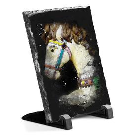 image-Vintage Rocking Horse Paint Splash Decorative Slate