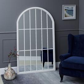 image-Fleur Large Arched Framed Mirror White