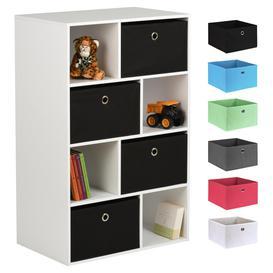 image-Hartleys White 8 Cube Kids Storage Unit & 4 Easy Grasp Box Drawers - Black
