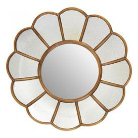 image-Varian Floral Wall Bedroom Mirror In Gold Frame