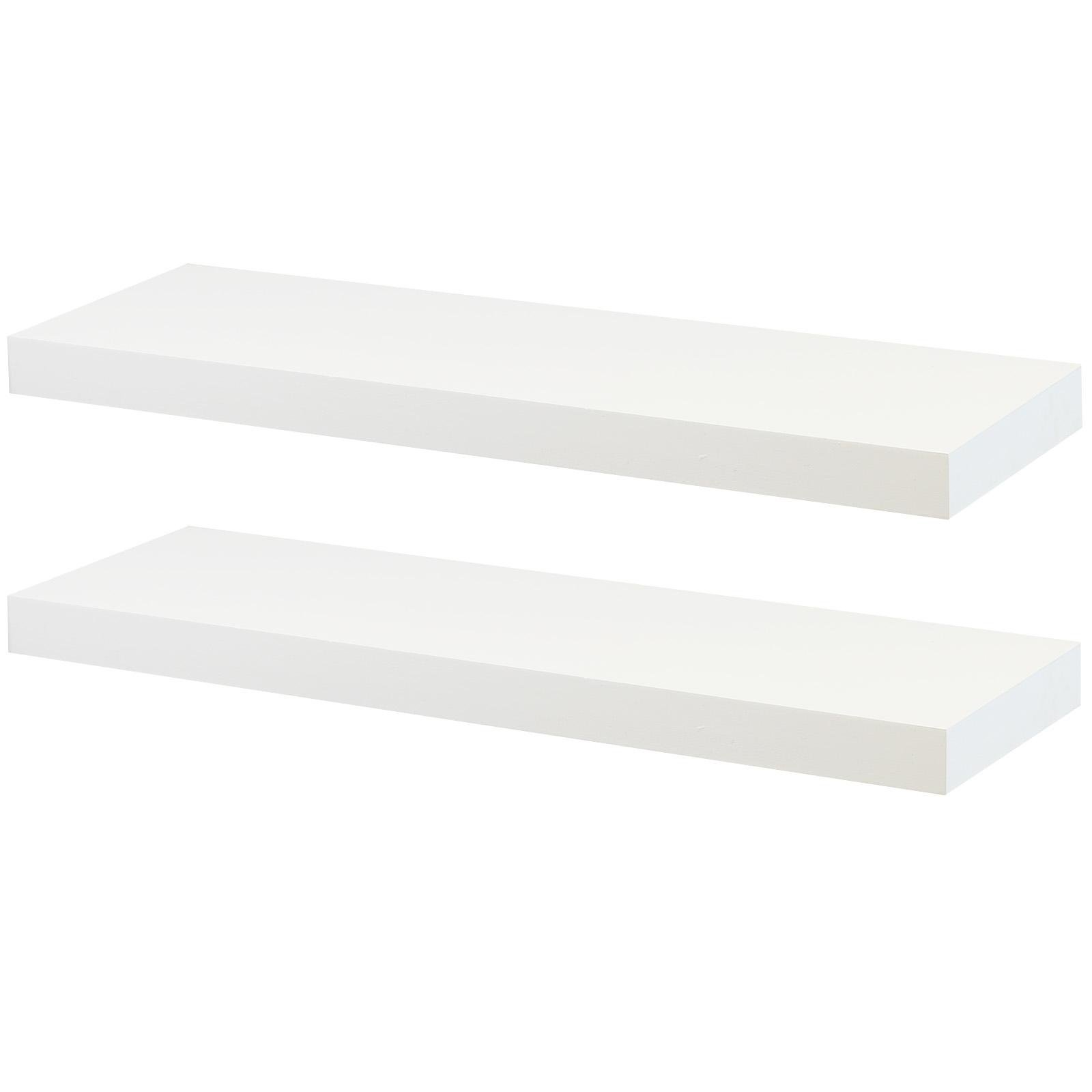 image-Hartleys Set of 2 Rectangular Floating Wall Shelves - 60cm - White