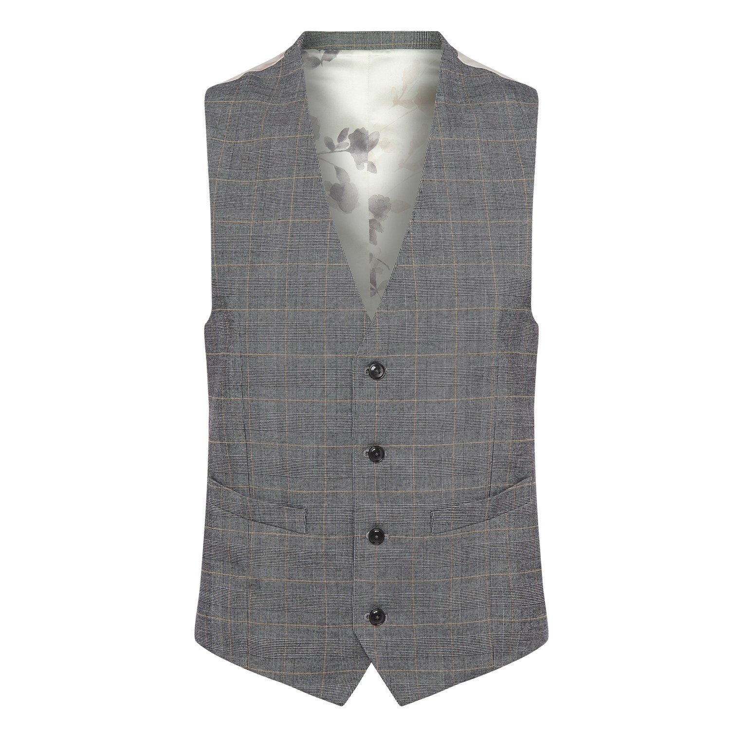 image-Grey Check Suit Waistcoat - grey check regular