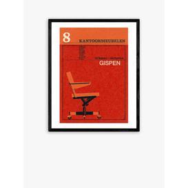 image-Jane McDevitt - 'Mid-Century Chair' Matchbox Label Framed Print, 52 x 42cm, Red