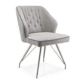 image-Wolf Grey Textured Linen Effect Occasional Brushed Steel Framework Chair set of 2