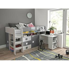 image-Ezell European Single Mid Sleeper Bed with Furniture Set Isabelle & Max Bed frame colour: Grey/White