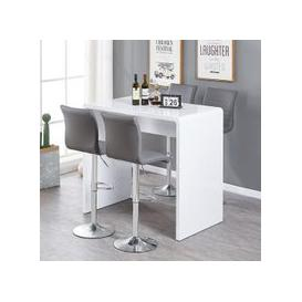 image-Glacier Bar Table In White Gloss With 4 Ripple Grey Stools