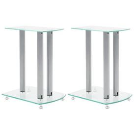 image-Center Channel Speaker Stand Ebern Designs Finish: Grey, Glass Colour: Clear