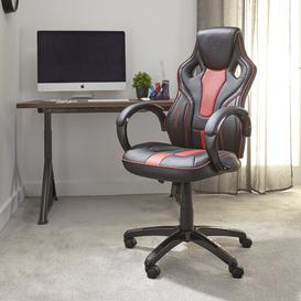 image-Maverick Gaming Chair X Rocker Upholstery Colour: Red/Black
