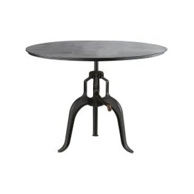 image-Black Metal Adjustable Round Dining Table Bistro D 110 cm Edison