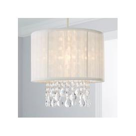 image-Voile Jewel Shade Ivory Easy Fit Pendant White