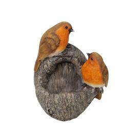 image-Hand Painted Robin Bird Feeder