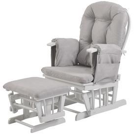 image-Kub Haywood Reclining Glider Nursing Chair and Footstool, Grey