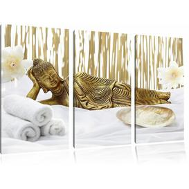 image-Golden Buddha on Towel 3 Piece Photographic Print Set on Canvas East Urban Home