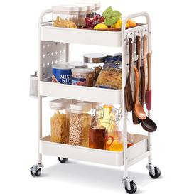 image-3-Tier Rolling Cart,Storage Trolley With DIY Dual Pegboards On 2 Sides,Utility Cart With Removable Baskets Hooks, Serving Storage Cart Easy Assemble F