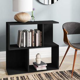 image-Low Wide 77cm Cube Unit Bookcase Symple Stuff Colour: Black