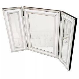 image-Steyning Glass Framed Freestanding Dresser Mirror in Chrome