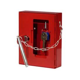 image-Securikey Emergency Key Box With Cylinder Lock, Hammer And Chain, Red