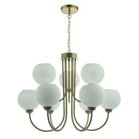 image-Dar IND1335 Indra 9 Light Multi Arm Ceiling Pendant In Brass With Opal Glass