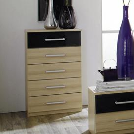 image-Relation Plus 5 Door Chest Rauch Colour: Core walnut print, Top drawer colour: Black