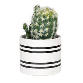 image-Artificial cactus pot with stripes