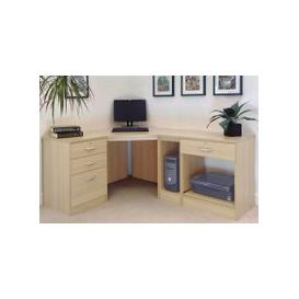 image-Small Office Corner Desk Set With 3+1 Drawers, Printer Shelf & CPU Unit (Beech)