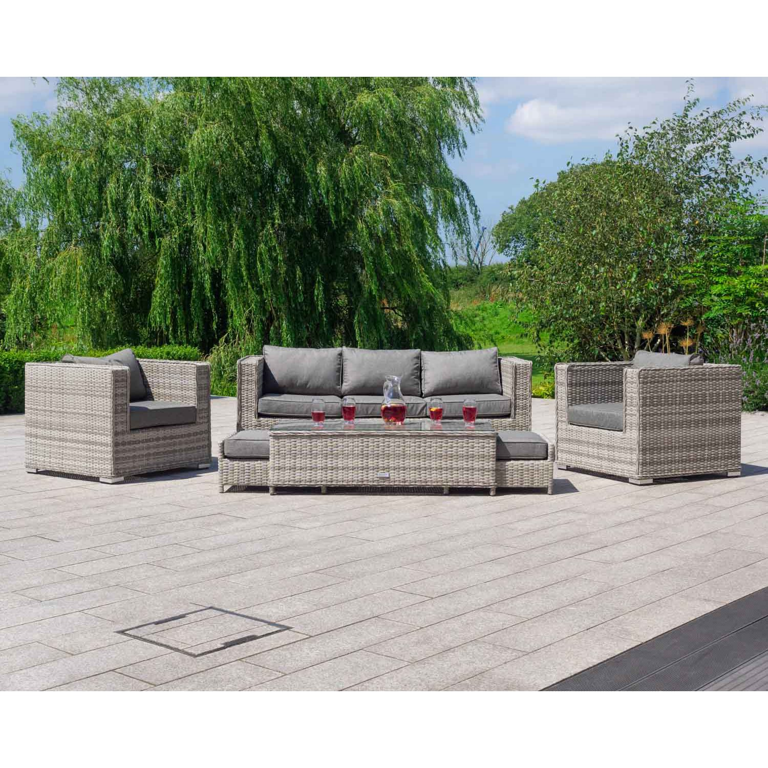 image-Ascot Rattan 3 Seat Garden Sofa Set in Grey