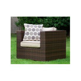 image-Ascot Rattan Garden Armchair in Chocolate Mix and Coffee Cream