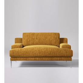 image-Swoon Almira Love Seat in Turmeric Cord With Silver Feet
