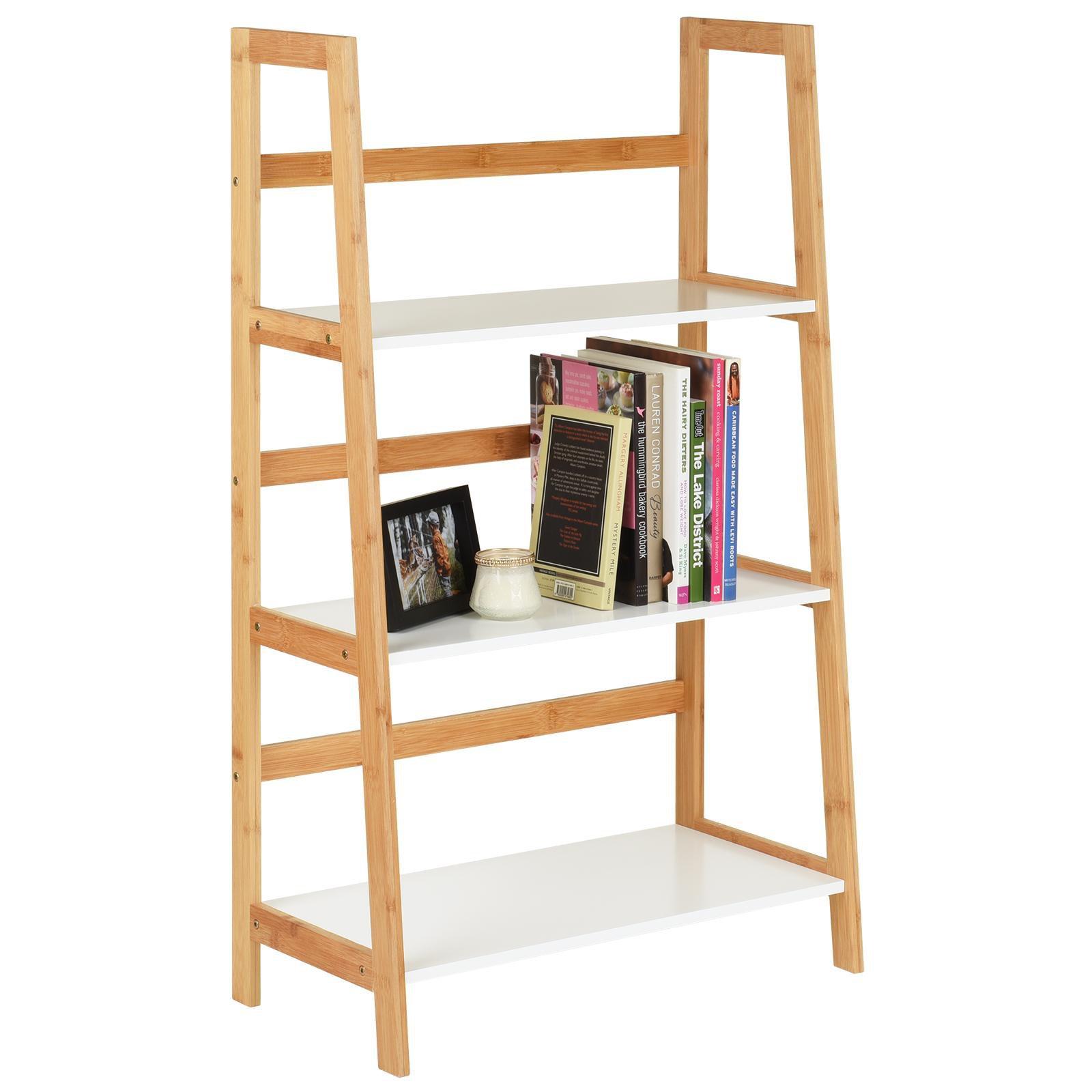 image-Hartleys White & Bamboo 3 Tier Bookcase