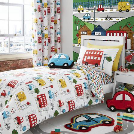 image-Catherine Lansfield Transport Bright Duvet Cover and Pillowcase Set White/Blue/Red