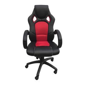 image-ALPHASON Daytona Faux-Leather Tilting Executive Chair - Black & Red, Black