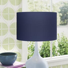 image-Cotton Drum Lamp Shade Wayfair BasicsΓäó Colour: Navy Blue, Size: 20cm H x 25cm W x 25cm D