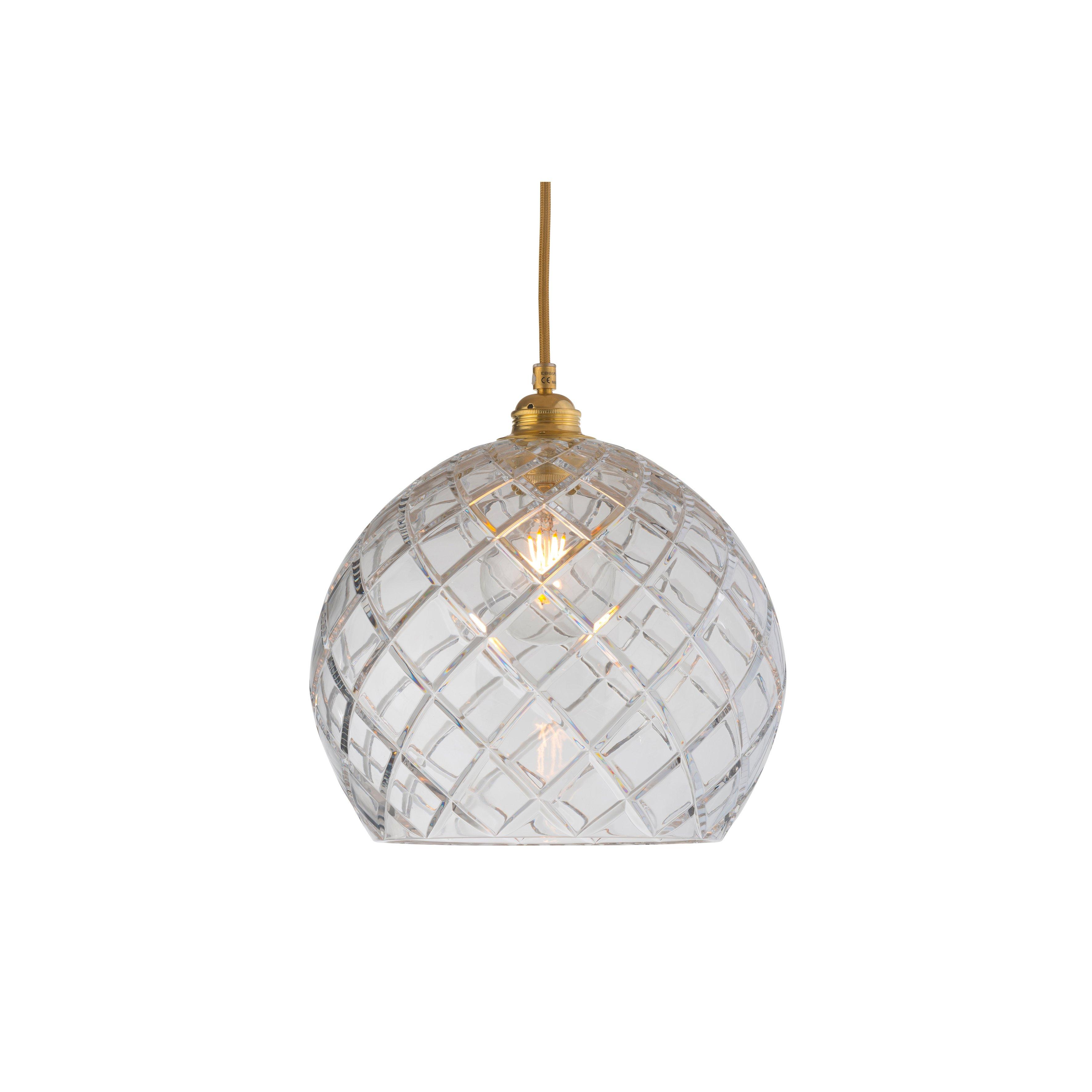 image-Rowan Crystal Pendant Lamp, 28cm, Gold, Large Check