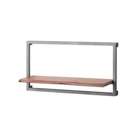 image-Hill Interiors Live Edge Large Wall Shelf - Acacia Wood and Metal