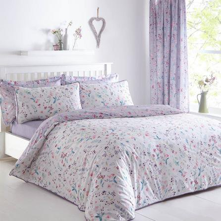 image-Botanical Meadow Reversible Purple Duvet Cover and Pillowcase Set Purple, Pink and Blue