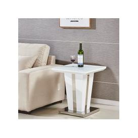 image-Memphis Lamp Table Square In White High Gloss With Glass Top