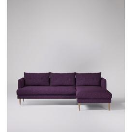 image-Swoon Kalmar Corner Sofa in Aubergine Soft Wool With Light Feet
