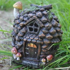 image-Mystical Pine Cone Fairy Garden Woodland House with LED Light Decoration Sol 72 Outdoor