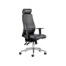 image-Brechin High Back Leather Faced Executive Chair With Headrest, Black, Free Next Day Delivery